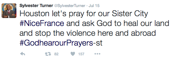 Turner: Houston let's pray for our Sister City #NiceFrance and ask God to heal our land and stop the violence here and abroad #GodhearourPrayers