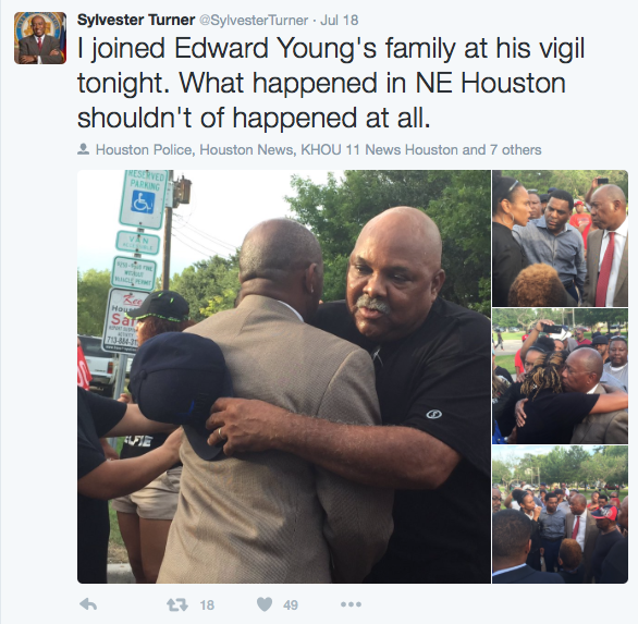 Turner: I joined Edward Young's family at his vigil tonight. What happened in NE Houston shouldn't of happened at all.