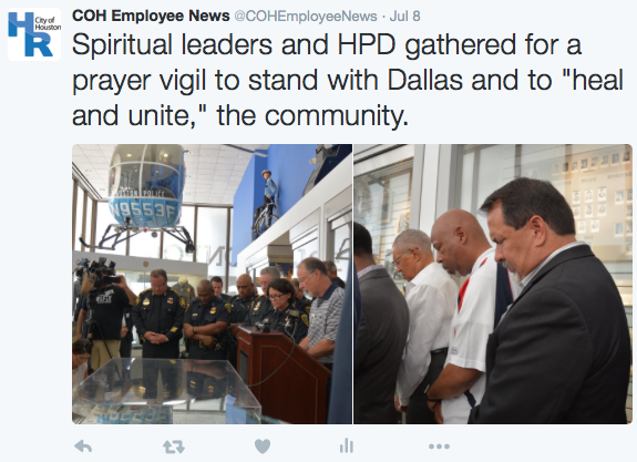 Spiritual Leaders and HPD gathered for a prayer vigil to stand with Dallas and to heal and unite the community