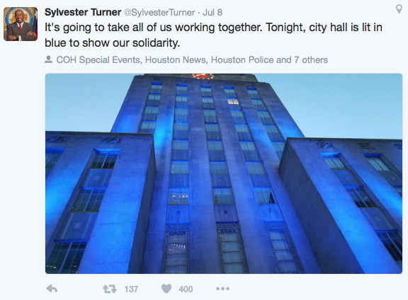 Turner: It's going to take all of us working together. Tonight, City Hall is lit up in blue to show our solidarity.