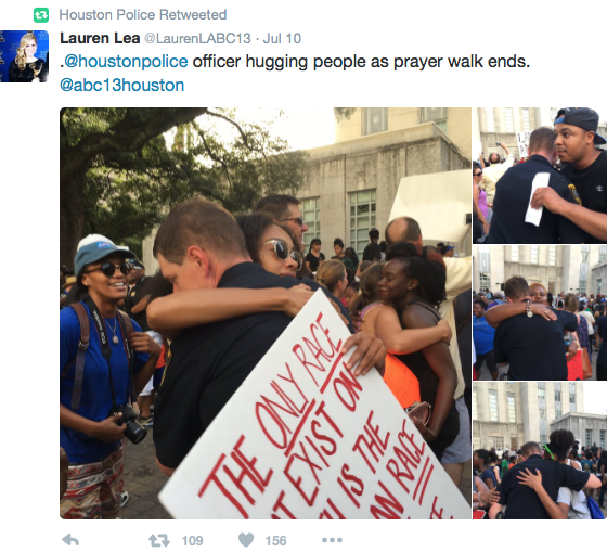 photos of citizens hugging police officers