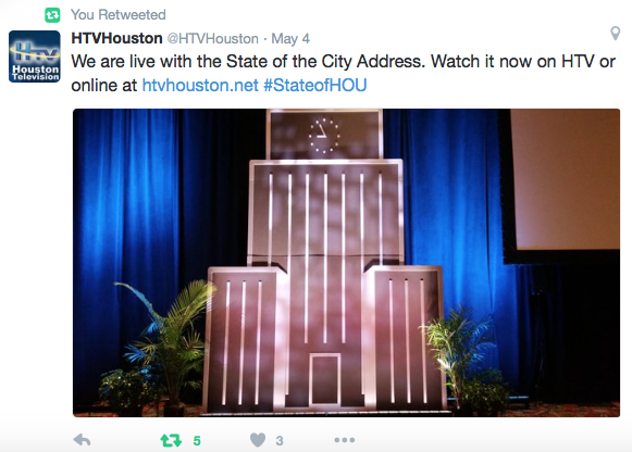 HTV: We are live at the State of the City Address. Watch it online at htvhouston.net