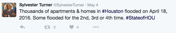 Turner: Thousands of apartments &homes flooded on April 18, 2016. Some flooded for the 2nd, 3rd, or 4th time