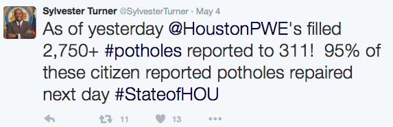 Turner: As of yesterday, Houston PWE has filled 2,750= potholes reported to 311. 95% of these citizen reported potholes were repaired the next day