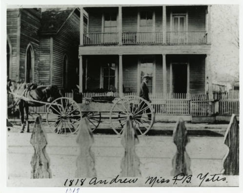 Willie Lee Gay Collections, Yates home on 1318 Andrews Street, showing wagon and horse drawn carriage. Home built in 1870.  1900s