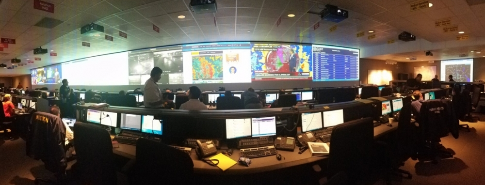 Employees monitor traffic, weather conditions and emergency reports at the city's Emergency Operation Center at the Houston Emergency Center.