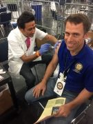 Housing and Community Development Department Director Tom McCasland gets a tetanus shot at the GRB. Photo courtesy of the Houston Housing and Community Development Department.