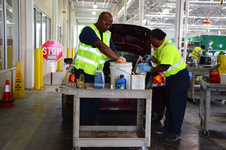 On collection days at the South Post Oak Environmental Service Center, Chris Ford and his coworkers welcome residents who drop-off household hazardous waste items.