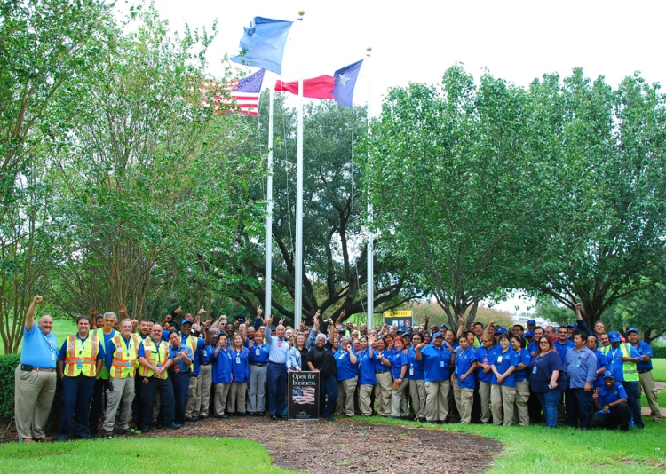 Once the clouds finally parted, Bush Intercontinental Airport employees gathered to support Harvey victims.