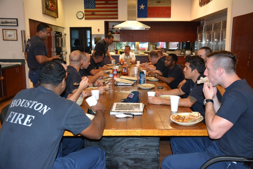 Houston Fire Department Station 8 firefighters gather for breakfast to fuel up for a 24-hour shift.
