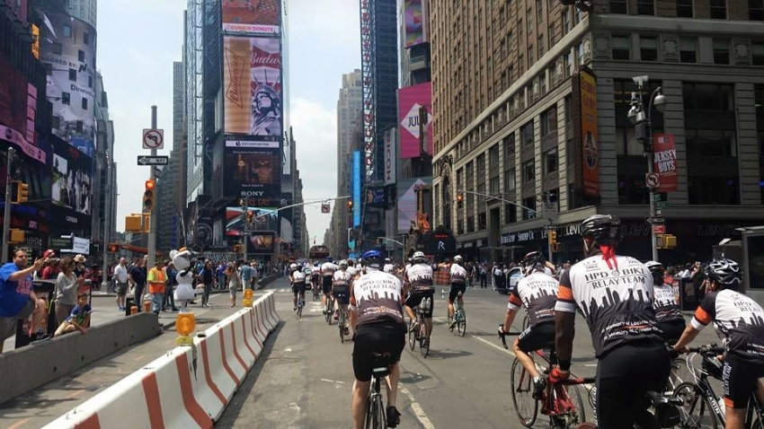 The HPD Relay Bike Team arrives in Times Square on July 1 after riding 2,200 miles from Houston to New York City to raise funds for leukemia and lymphoma.