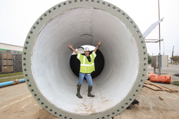 Rodriguez standing in a 102 inch pipe