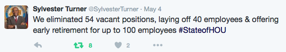 Turner: We eliminated 54 vacant positions, laying off 40 employees and offering early retirement for up to 100 employees
