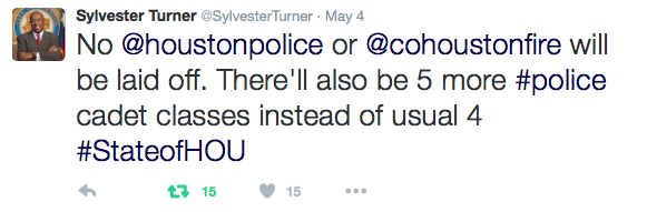 Turner: No police of fire will be laid off. There'll also be 5 more cadet classes instead of usual 4