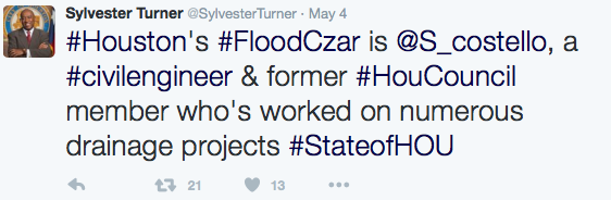 Turner: Houston's flood czar is Steven Costello, a civil engineer and former Houston Council member who's worked on numerous drainage projects