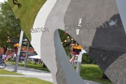 """One half of the polished stainless steel gateway arch is inscribed, """"Liberation and Opportunity."""""""