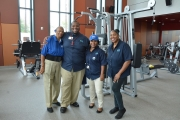 Houston Parks and Recreation Department employees pose for a photo in Emancipation Park's new weight room.