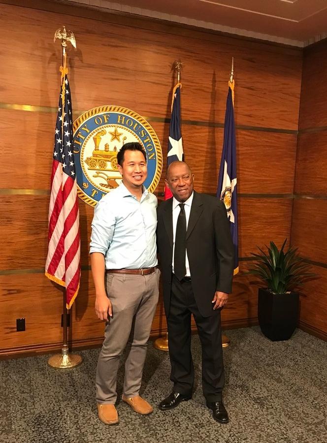 Don Suttaji with Mayor Sylvester Turner.