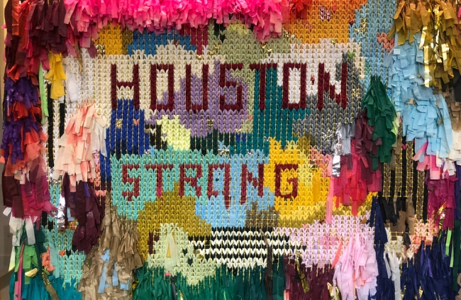 This Houston Strong artwork  — created by Sunny Sliger and Marianne Newsom of the Color Connection — was gifted to the Harvey Arts Recovery Fund.