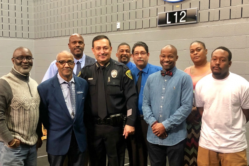 HPW's Confined Spaces Team members honored at an HPD awards ceremony include Paul Davila, Wendell Smith, Morlon Titus, Marshall O'Brien, Rodney Bennett, Pennie Edwards, Columbus Thomas and Gerald Randle. Photos and names of the extended task force were not permitted.
