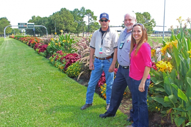 Danny Adams, Pete Ferguson and Amy Griggs lead the landscaping design at the Houston Airport System.