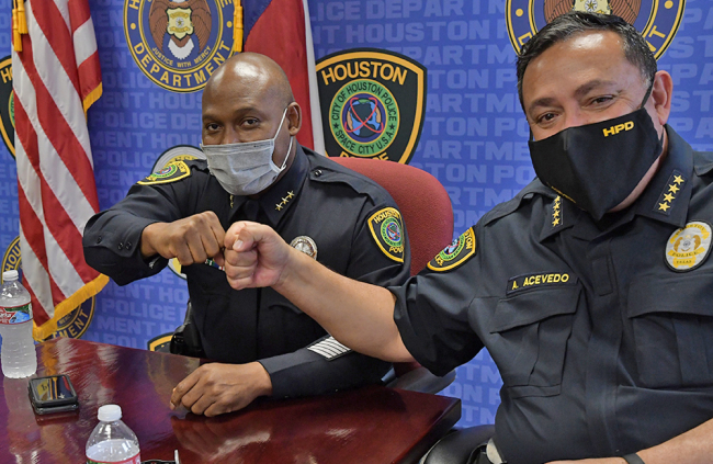 Newly appointed Houston Police Chief Troy Finner (left) and former Chief Art Acevedo sat down and discussed their careers following Acevedo's announcement that he was leaving Houston to become the new police chief in Miami. The two men shared their thoughts and a few laughs.