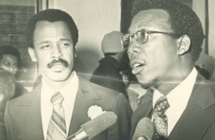 Kelton Sams, right, gave the invocation and benediction at a 1977 ceremony renaming South Park Boulevard as Martin Luther King Boulevard in honor of the civil rights icon. Sams devoted years of his life to fighting for racial equality in Texas.