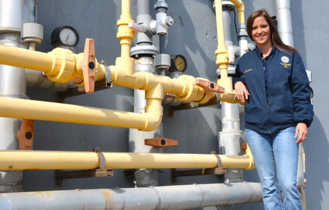 Shannon Rodriguez keeps an eye on the city's drinking water lines at the East Water Purification Plant and throughout the city.