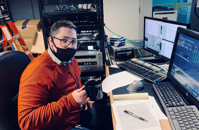 "HTV Master Controller (or, ""Broadcast Operations Controller"" as he likes to be called) Bryant Quiroga goes over the morning schedule for the channel's daily programming."