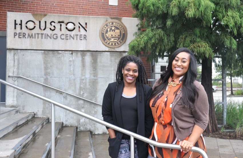 After surviving the post-Harvey rush at the Houston Permitting Center, Aisha Savoy and Chandra Hall parlayed temporary job placements into permanent positions.