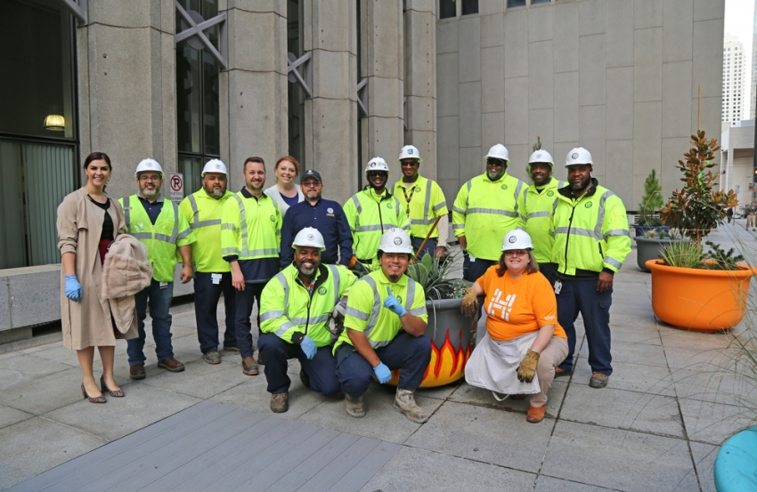 Houston Public Works and Keep Houston Beautiful unveiled new art pots in front of 611 Walker.