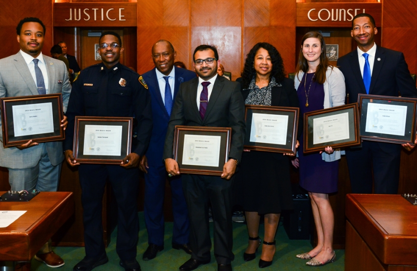 From left to right: Derek Holmes, Office of Business Opportunity; Sheldon Theragood, HPD; Mayor Sylvester Turner; Muhammad Wadia, Finance Department; Linda Giles-Terrell, Houston Emergency Center; Mary Itz, Housing and Community Development Department; Verdis Wilson, Houston Public Works.