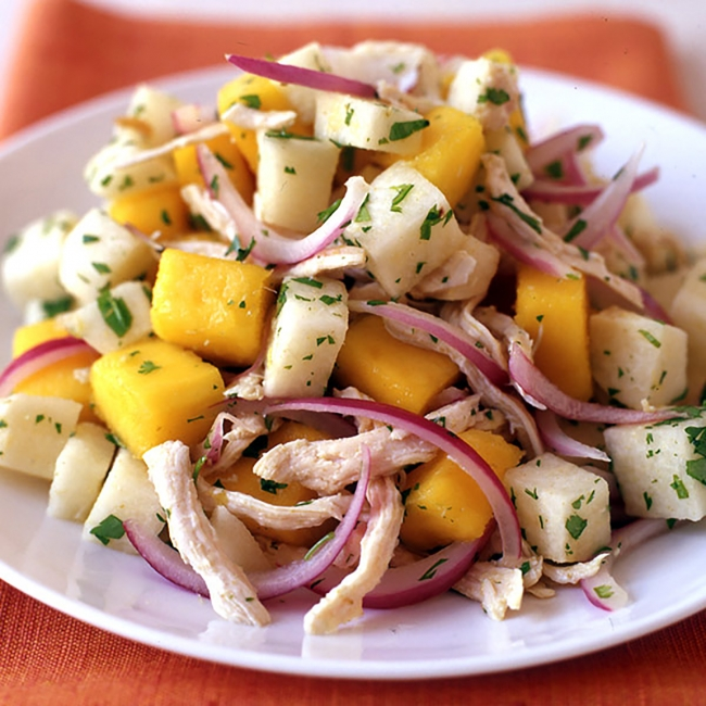 Mango chicken salad with jicama