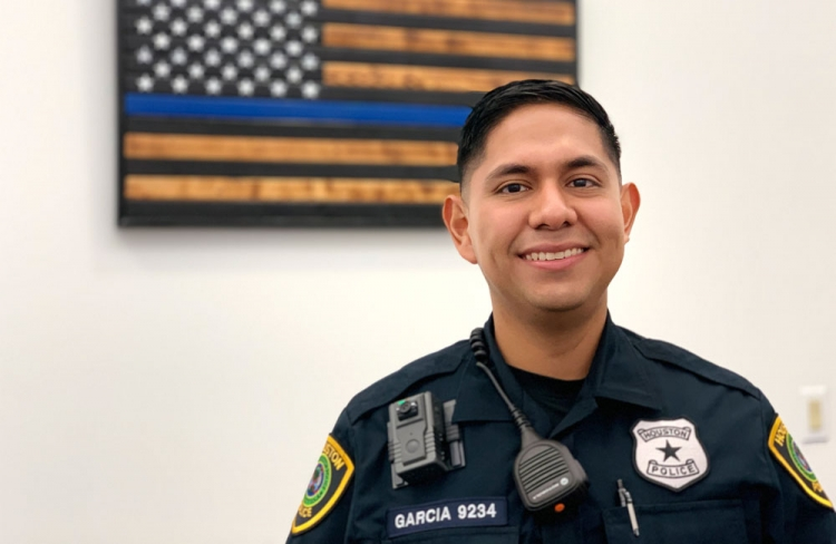 "Described as a ""walking miracle,"" Officer Nestor Garcia is back on patrol at the HPD South Central Patrol Station."