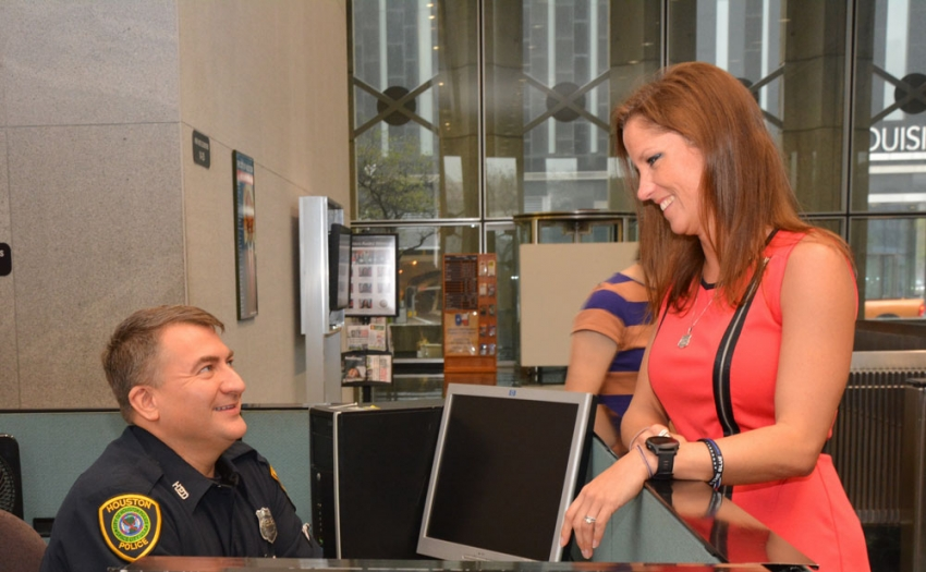 Shannon Rodriguez chats with her husband, George, in the lobby of Bob Lanier Public Works Building at 611 Walker.