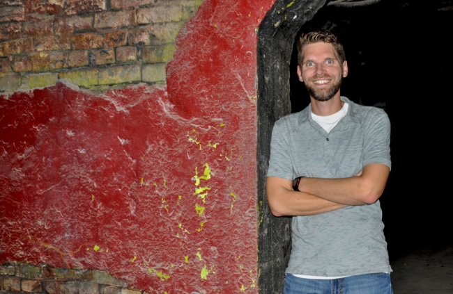 Matt Kriegl explores the basement of the 125-year-old Magnolia Brewery building on the corner of Franklin and Milam streets.